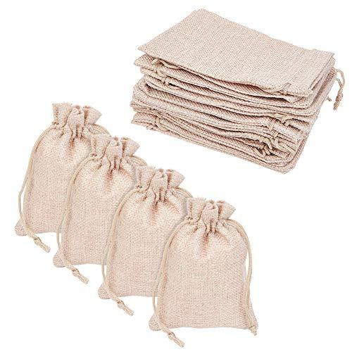 PandaHall - Lot de 100Pcs Pochettes Sachets en Lin Chanvre avec Cordon Rectangle Couleur Beige Naturel pour Bijoux Cadeau Mariage, 13.5x9.5cm