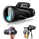 QMEET 12x42 Zoom Monocular Telescope, BAK4 Prism Monocular with Smartphone Holder & Tripod, Waterproof Fog HD Monocular Scope for Bird Watching Hunting, Camping, Travelling, Hiking, Concert.