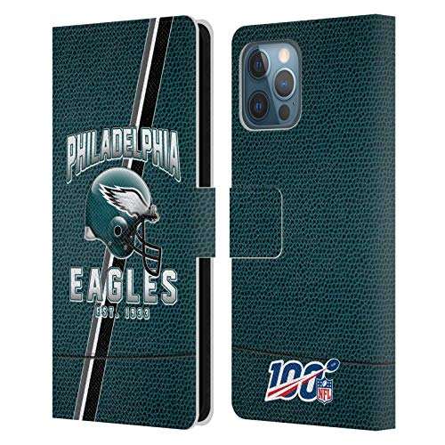 Official NFL Football Stripes 100th 2019/20 Philadelphia Eagles Leather Book Wallet Case Cover Compatible For Apple iPhone 12 Pro Max
