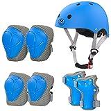 LANOVAGEAR Casco Infantil Set de Protección Casco Ajustable Rodilleras, Coderas y Muñequeras para Patinar Ciclismo Monopatín y Deportes Extremos (Azul, S)