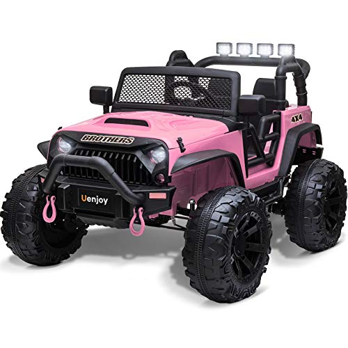 Uenjoy 12V Large Kids Electric Ride on Car 2 Seats Motorized Truck Battery Powered Children Electric Vehicles, Wheels Suspension, Remote Control, LED Lights, Music, Bluetooth, Pink