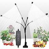 JLDNC Lámpara de Plantas, 80W 168 Leds 4 Cabezales Lámpara LED Cultivo con 4/8/12h Función de Temporizador Lámpara de Crecimiento 3 Modos y 5 Brillo para Jardinería Bonsai,S