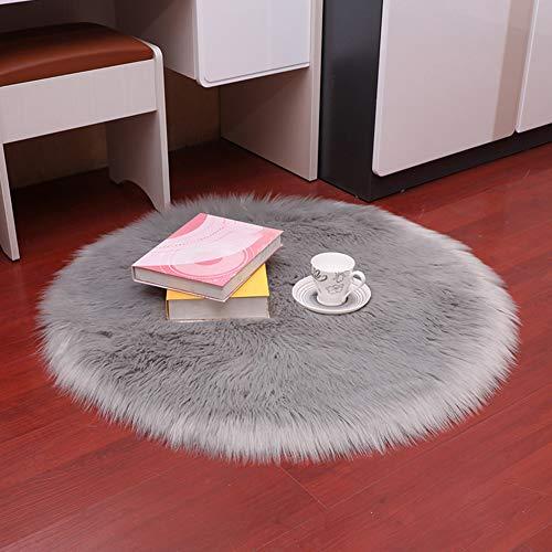 Durable Home Living Ro Vloerkleed, rond, pluizig tapijt, warme slaapmatovertrek, zachte vloerbedekking, duurzaam 30 cm wit