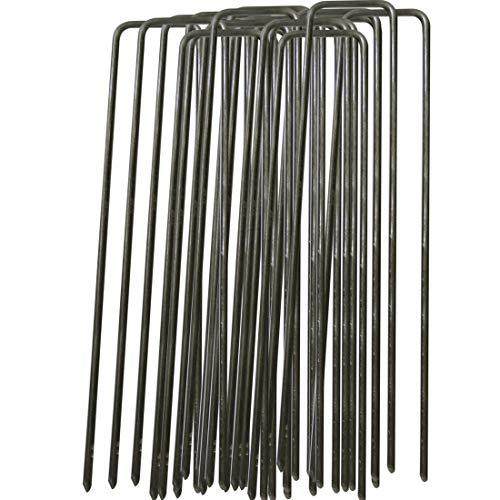GIOVARA 100 x 150mm Pegs di fissaggio per giardino in acciaio polivalente a forma di U per la protezione del tessuto infestante, tessuto orizzontale - filo di acciaio spesso 2.98mm