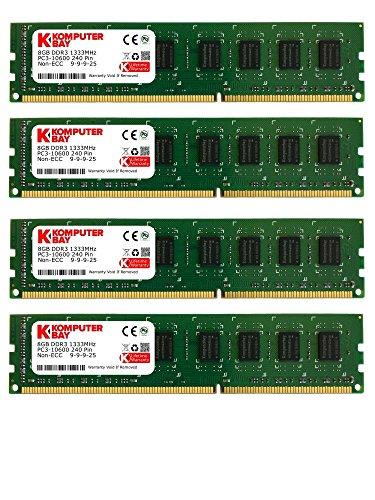 Komputerbay 32GB (4X8GB) PC3-10600 10666 1333MHz SDRAM DIMM 240-PIN RAM Desktop-Speicher Dual Channel KIT 9-9-9-25