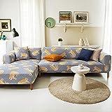 PPOS Moderne Sofabezug Spandex Elastisches Polyester Floral Couch Schonbezug Stuhl Wohnzimmer Ecke Sofabezüge C3 3 Sitze 190-230cm-1pc