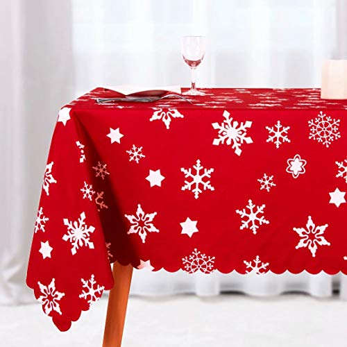 NLMUVW Rectangle Christmas Tablecloth, Waterproof Oblong Decorative Table Cloth, Fabric Decorative Table Cover for Party Picnic Outdoor and Indoor Use, 60 x 84 Inch Snowflake 2