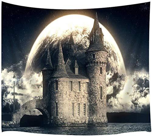 Tapiz Pared Castillo Antiguo Gótico Blanco Y Negro, Lago Tranquilo Bajo La Luna Llena Tapices Para Colgar En La Pared, Tapices Tela Poliéster Para Coración L Hogar L Dormitorio -51 'X59'