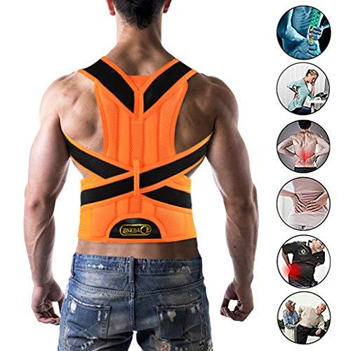 ZSZBACE Haltungstrainer, Geradehalter zur Haltungskorrektur für Rückenschmerzen Linderung, Verstellbare Rückenstütze Rückenbandage für Damen und Herren (orange, XL)