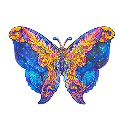 GJH Rompecabezas Animales únicos, Mariposa Rompecabezas de Madera Adultos 323 Piezas, Puzzle de Madera para Niños 5mm, Ideal para La Colección de Juegos Familiares (Mariposa, 13.9x11.1 Pulgada)