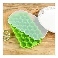 XFHA ふたのためにアイスクリームパーティーウイスキーカクテル冷たいドリンクハニカムアイスキューブトレイ37キューブシリコーンアイスキューブメーカーの金型 夏のマストアイテム (Color : Green)