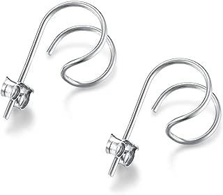 Minimalist Sterling Silver Hoop Hook Stud Earrings
