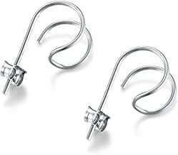 DOMILINA Minimalist Sterling Silver Hoop Hook Stud Earrings