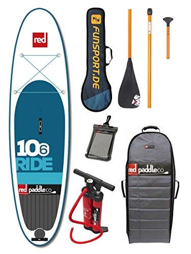 Red Paddle Ride 10'6' iSUP 2016 - Tabla para paddle board, incluye remo de 3 piezas de Jobe y funda impermeable, accesorio hinchable