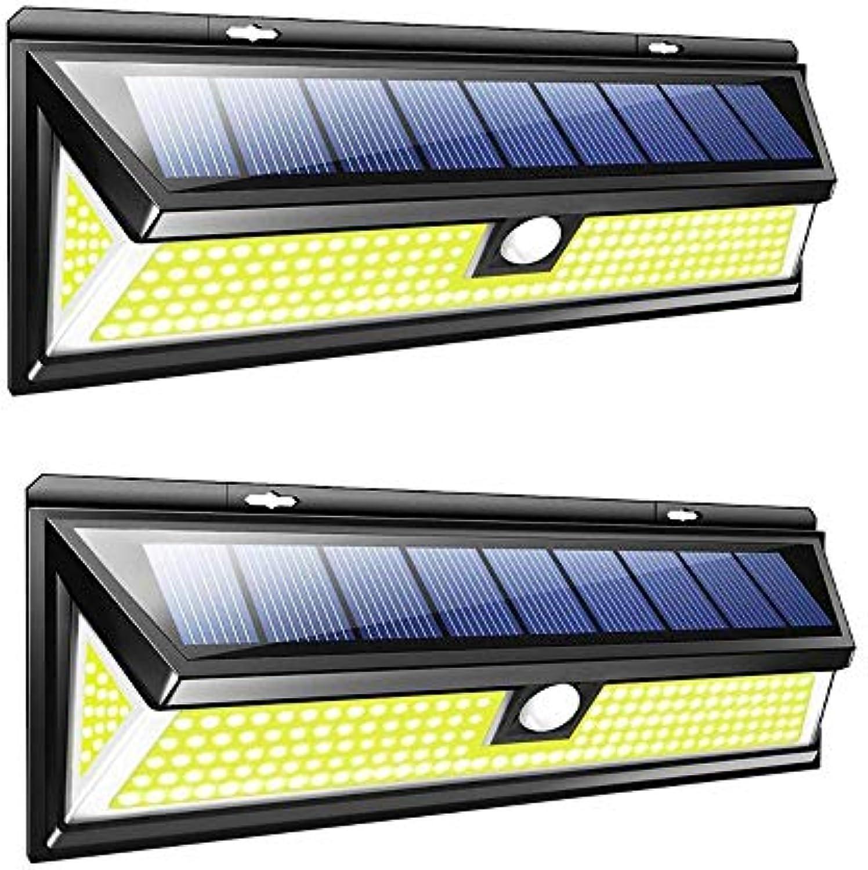 VOVOVO 180 LED Solarlampen für Auen mit Bewegungsmelder, Wasserdicht Solarleuchten Aussenbeleuchtung Solarlichter für Garten, Wand, Fahrbahn, Einfahrt, Gehwegen 2 Stück