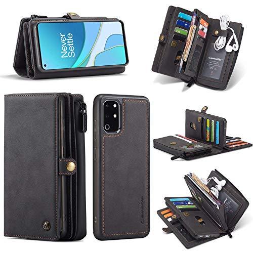 Compatible con One Plus 8T Wallet Funda con cremallera y 15 ranuras para tarjetas, protección magnética desmontable, funda de piel sintética, color negro