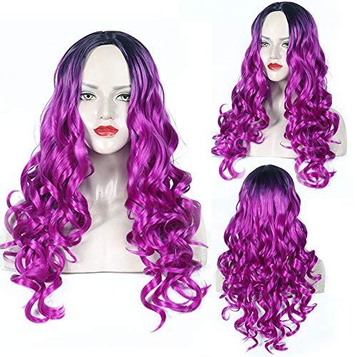 Femme Fashion Lady longue perruque de cheveux bouclés onduleux Big Wave Dyeing dégradé Faux rôle féminin Jouer une balle Perruques Pour la danse de fête quotidienne (Color : Rose red)
