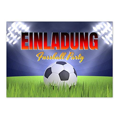 15 x Einladungskarten (Fussball im Flutlicht) im Postkarten Format mit Umschlag/Fussball/WM/Party/Feier/Einladung