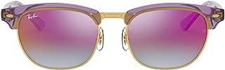 Ray-Ban Kids' 0rj9050s7036a947junior Clubmaster Non-Polarized Iridium Square Sunglasses, TRASPARENT Violet, 47 mm