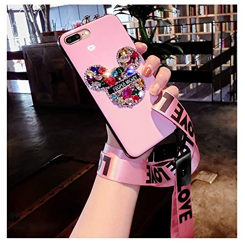 FENGT Mickey Head Apple-HandyhüLle FüR iPhone Xsmax Silikon-Lanyard Mit All-Inclusive-SchutzhüLle Xr,Pink,iPhone7P/8plus