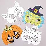 Coole Halloween-Masken zum Ausmalen, 8 Stück