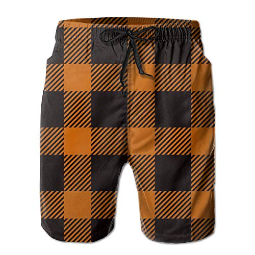 Orange Buffalo Plaid Classic Art Beauty Herren Boardshorts Beach Lightweight Home Casual Shorts Badehose mit Quick Dry XL