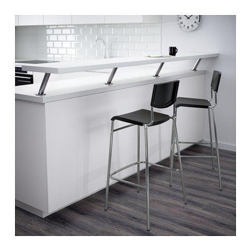IKEA STIG–Taburete de bar con respaldo, negro, estática–63cm