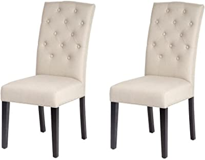 Set Of 2 Beige Fabric Contemporary Elegant Design Dining Chairs Home Room