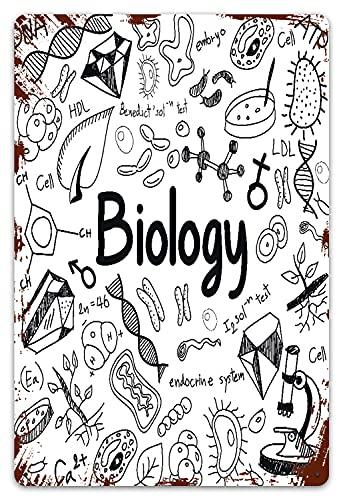MIFSOIAVV Carteles de Metal Biología Teoría de la ciencia Doodle y modelo de herramientas en White School Documento educativo Crear Placa de la Pared Póster para Garage,Taller,Casa o Bar 20x30cm
