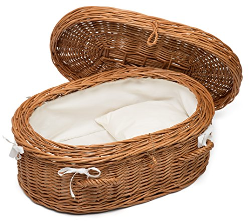Prestige Wicker Luxury Willow Cat Pet Casket, Size Small, Pillow included and Lined with White Fabric