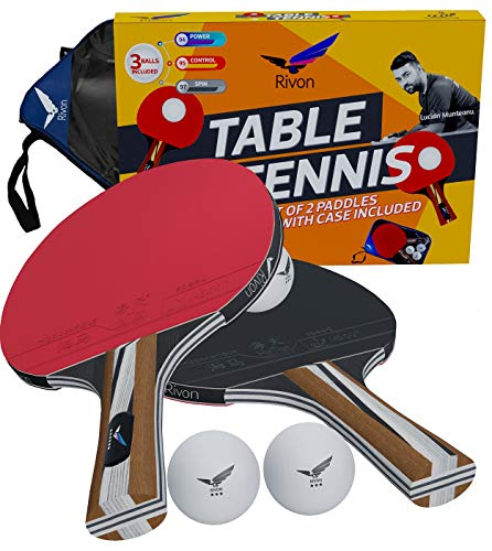 Rivon Ping Pong Paddel/Schläger-Set – 2 Tischtennisschläger mit 3 Bällen und Reiseetui – ITTF zugelassenes Gummi – empfohlen von Prominenten