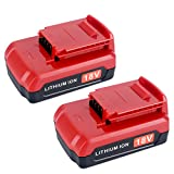 Lasica 2-Pack 18V Lithium Battery PC18B for Porter-Cable 18 Volt Cordless Power Tools PCC489N PCMVC PCXMVC PC18B PC18BL PC18BLX PC18B-2 Porter Cable 18V Battery