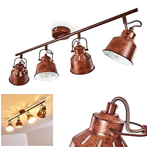 Deckenleuchte Safari, Deckenlampe aus Metall in Rost/Weiß, 4-flammig, mit verstellbaren Strahlern u. Lichteffekt, 4 x E14-Fassung max. 40 Watt, Spot im Retro/Vintage Design, LED Leuchtmittel geeignet
