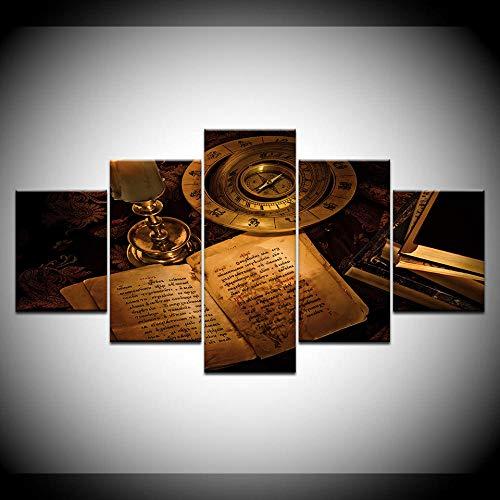 VGFGI Stampa HD 5 Pezzi Modulare Retro Bussola Libro Tela Pittura Moderna Murale Immagine Stampa Soggiorno Decorazione Domestica Opera d'Arte
