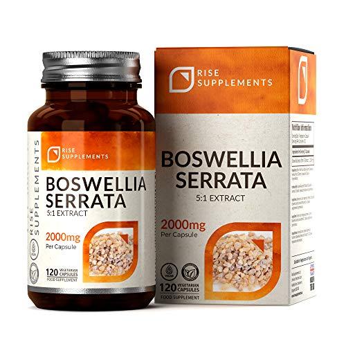 RS Weihrauchkapseln Hochdosiert | Boswellia Serrata 2000 mg | 5:1 Extrakt | 120 Vegane Kapseln | Gegen Schmerzen & Entzündungen | Gentechnikfrei | Frei von Gluten, Milch & Allergenen | Antioxidantisch
