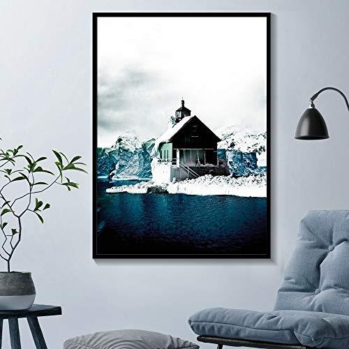 Mubaolei Arte de Pared Moderno Lienzo Pintura Paisaje escandinavo Carteles e Impresiones Naturaleza Colorida decoración de Sala de Estar 60x80cm