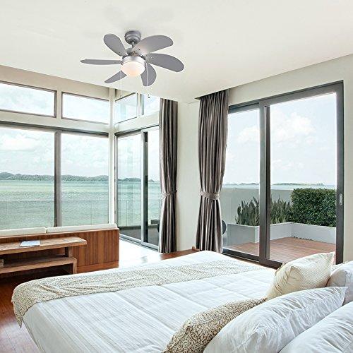 QAZQA Modern Deckenventilator mit beleuchtung grau - Fresh 3 / Innenbeleuchtung/Wohnzimmerlampe/Schlafzimmer/Küche Glas/Holz/Stahl Rund LED geeignet E14 Max. 1 x 60 Watt