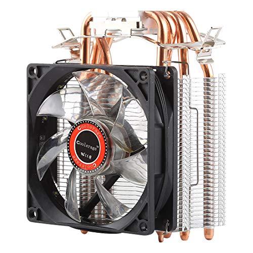 LENASH Refrigerador L400 DC 12V 1600PRM 40.5CFM Ventilador de refrigeración de cojinete hidráulico del disipador de Calor CPU Ventilador de enfriamiento para AMD Intel 775 1150 1156 1151 (Rojo)