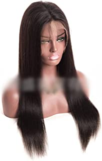 """Hairpieces Hairpieces (8""""- 22"""", Natural Color) Straight Human Hair Lace Front Wig for Women Brazilian Virgin Hair Straight Black Wig for Daily Use and Party (Color : Black, Size : 10 inch)"""
