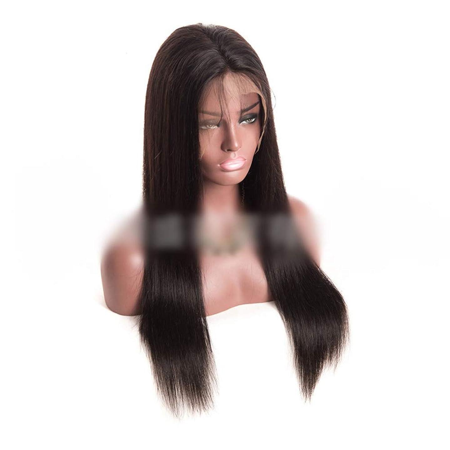 レシピ累積十Vergeania ブラジルの女性のバージンヘアストレート黒かつら(8