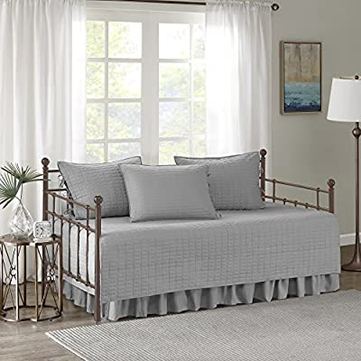 """Comfort Spaces Soft Microfiber Solid Blush Stitched Quilted Pattern 5 Piece All Season Cozy Bedding with Bedskirt, Matching Shams, Decorative Pillow, 75""""x39"""", Kienna Grey from Comfort Spaces"""