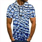 GXRGXR Polo Unisex De Manga Corta - Botón De Solapa Informal Novedad Camiseta con Estampado De Cuadrados Geométricos Abstractos Impresos En 3D - para Hombres Mujeres Camiseta Transpirable De Vera