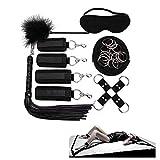 Juego de Cama de 7 Piezas, cinturón de Cama de Nailon Suave y látigo de Cuero (Negro)