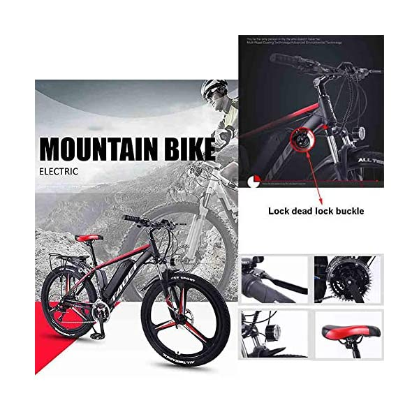 Electric Bikes EggshellHome Electric Bikes for Adult, Magnesium Alloy Ebikes Bicycles All Terrain, 26″ 36V 350W Removable Lithium-Ion Battery Mountain Ebike, for Mens Outdoor Cycling Travel Work Out And Commuting