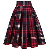 Falda Imprimir Cintura para Mujer Falda de Verano Rojo