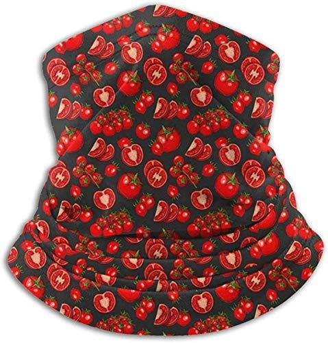 xiangyan11 Tomaten Gemüsemuster Unisex Mikrofaser Halswärmer Kopfbedeckung Gesicht Schal Maske Für Winter Kaltwetter Maske Bandana Sturmhaube
