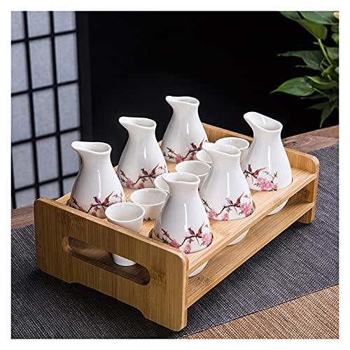 HQQ Japonés Steke Set Ceramic Peach Blossom, Incluyendo 6 Botellas de Sake, 6 Tazas con bandejas
