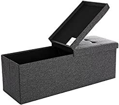 SONGMICS 31.7 Gal Storage Ottoman Bench, Folding Storage Chest, Footstool with Flip-up Lid, Padded Seat, 43.3 x 15 x 15 Inches, Up to 660 lb, Dark Gray ULSF76GYZ