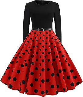 Comfortable Generous Christmas Dress Women Vintage Printing Boho Polka Dot Long Sleeve Loose Maxi Evening Party Dress Prom...