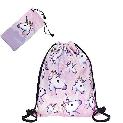 Smallbox mignon drôle Licorne rose drôle vie 3D impression cordon sac à dos pour les filles adolescentes école voyage sac de gym (39 * 30 cm)